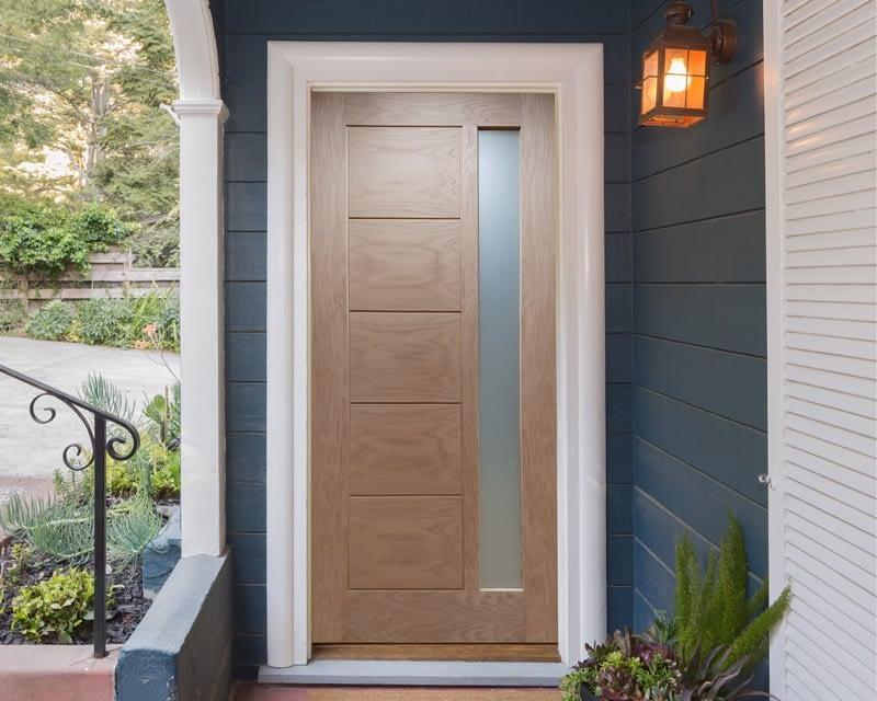 Linear Unfinished Oak External Front Door - Installed