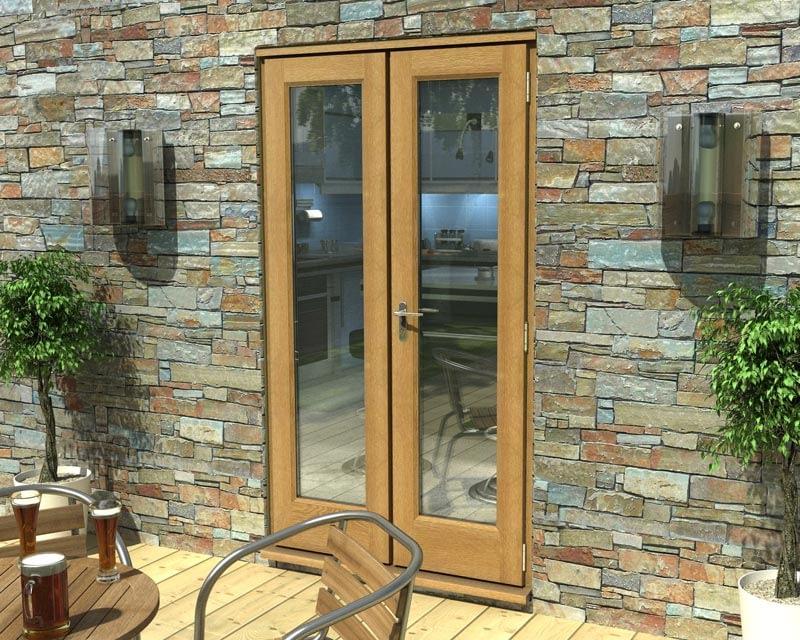 1200mm Esteem Oak Unfinished French Doors - External Shot