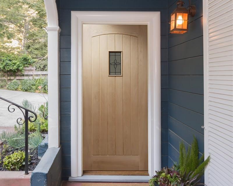 78 x 33 Croft Unfinished Oak External Front Door - Installed