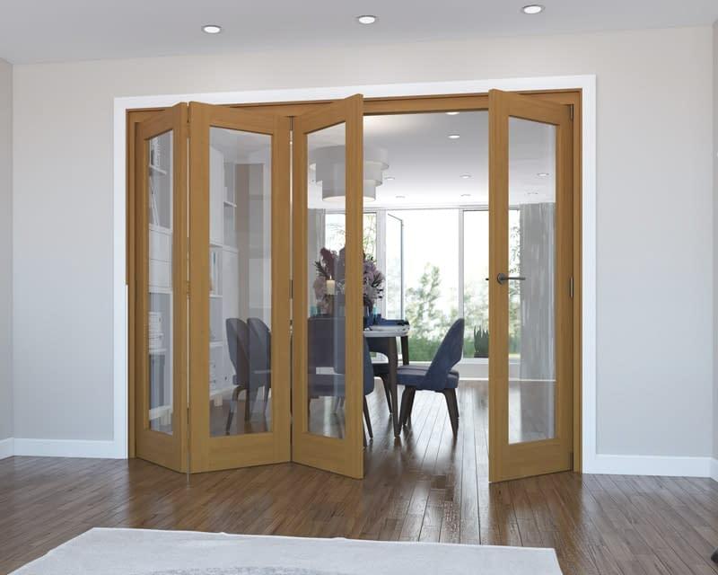 4 Door Vision Fully Finished Oak Internal Bifold - Open