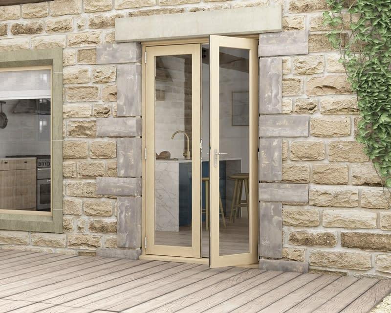 1200mm Evolve Oak Unfinished French Doors - Open