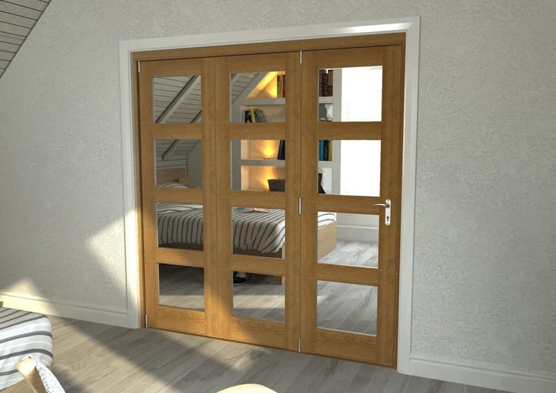 3 Door Repute Mirrored Oak 4 Light Internal Bifold - Closed