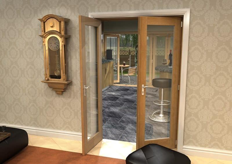 1300mm Vision Unfinished Oak 1 Light Internal French Doors - Open