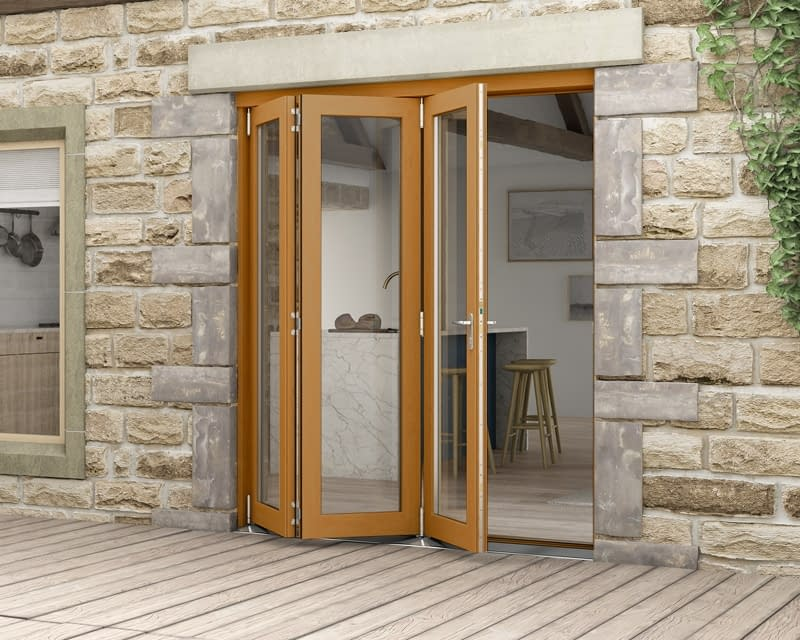 1800mm Icon Solid Oak Fully Finished Bifold - External Shot