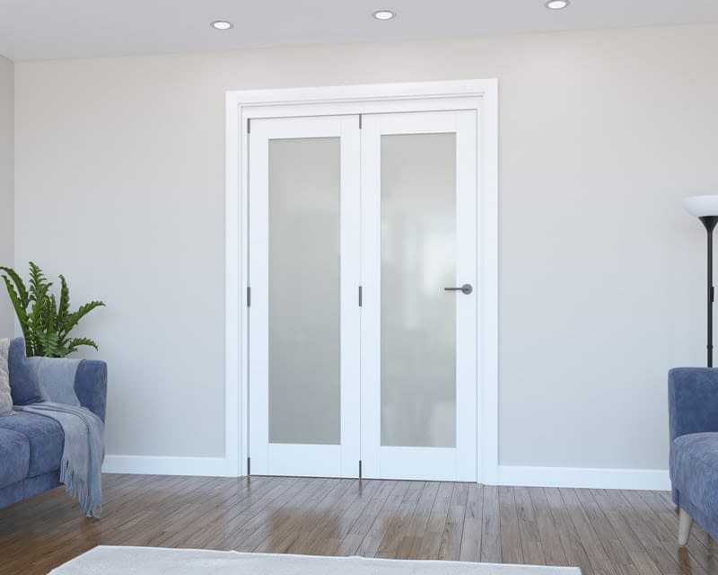 2 Door Vision White Primed Frosted Internal Bifold - Closed
