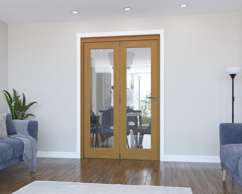 2 Door Vision Fully Finished Oak Internal Bifold - Closed