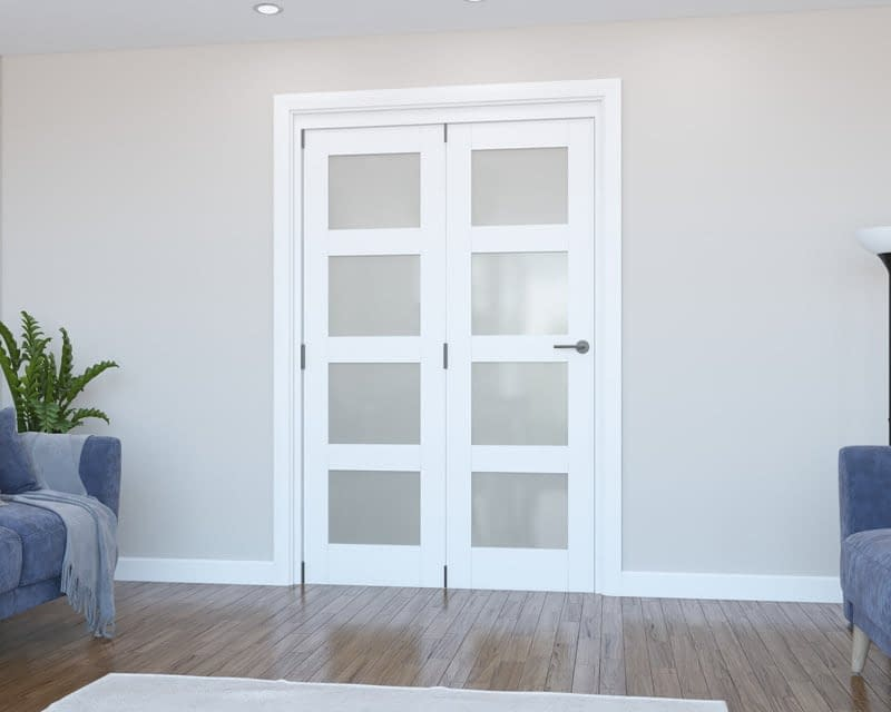 2 Door Vision White Primed 4 Light Frosted Internal Bifold - Closed