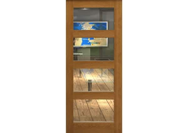 Fully Finished Oak 4 Light Single Internal Door With Clear Glass