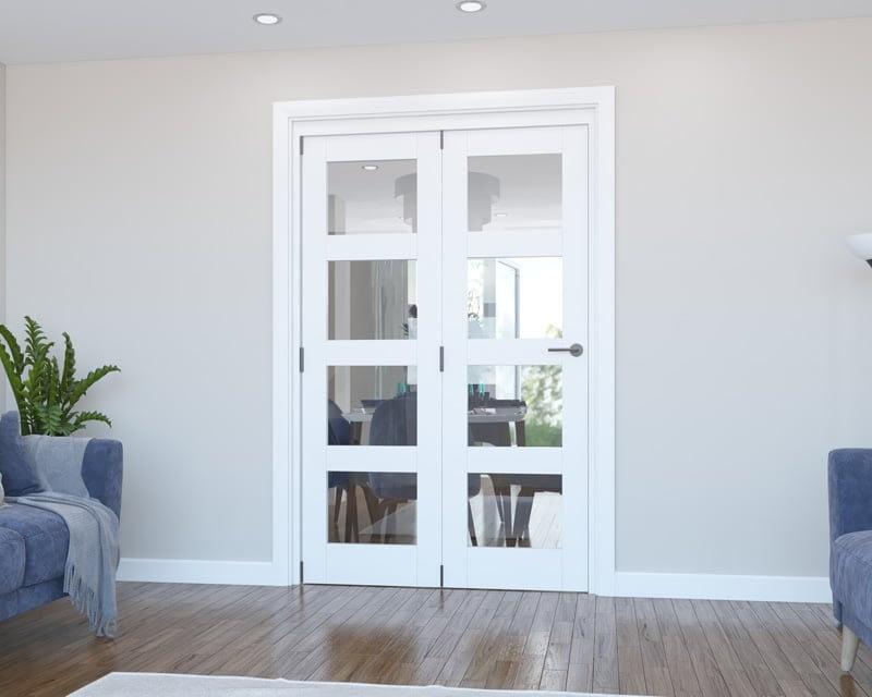 2 Door Vision White Primed 4 Light Internal Bifold - Closed