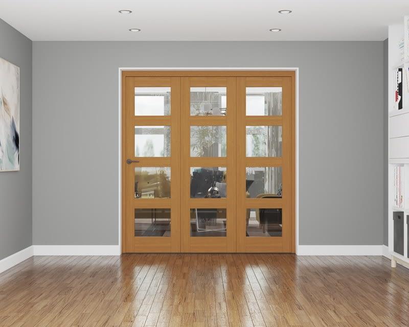 3 Door Repute Fully Finished Oak 4 Light Internal Bifold