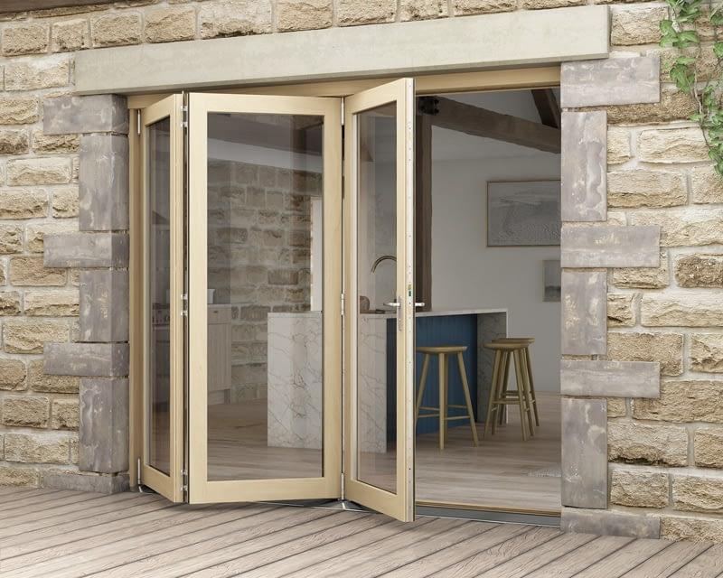 2400mm Icon Oak Part Q Compliant 3+0 Bifold Doors - External