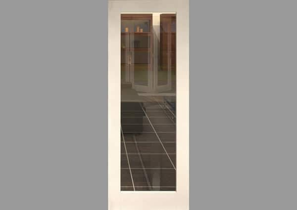 White Primed 1 Light Single Internal Door With Clear Glass